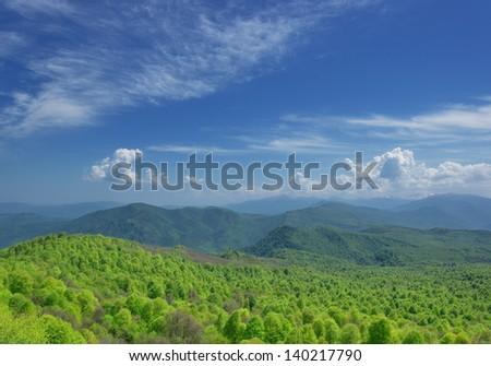 Russia. Lagonaki plateau. Adygea. Mountains in early spring
