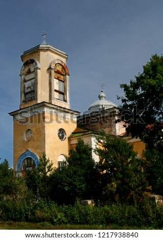 Russia. Leningrad region. The village of Yablonicy. Inactive church of the Resurrection of the Word. 2006 year