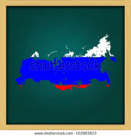russia map flag artwork  on high resolution green chalkboard