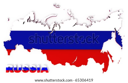 Russia, map with flag, isolated on white, clipping path included, 3d illustration