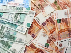 Russia money background. Heap of rubble banknotes. Currency top view. Money background with close up of russian Ruble. Economic, finance business, investment concept. Lay out, top view