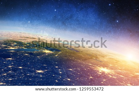 Russia - Moscow and Saint Petersburg sunrise. Elements of this image furnished by NASA. 3d rendering #1259553472