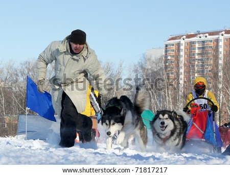 "RUSSIA, MOSCOW - FEBRUARY 19: Participants compete in arrival ""Races on the dog teams ""Strong spirit"""" February 19, 2009 in Moscow, Russia"