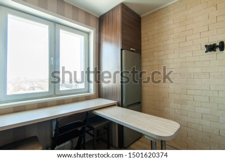 Russia, Moscow- June 17, 2018: interior room apartment. standard repair decoration in hostel #1501620374