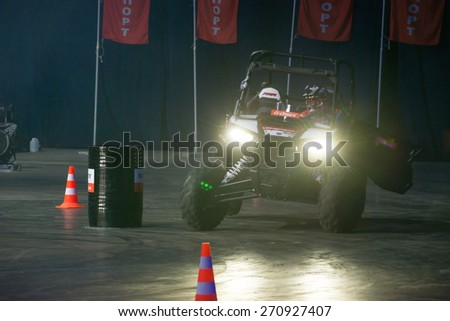 RUSSIA, MOSCOW-MARCH 14: Motorcycle racer buggies on the VIII festival of extreme sports in the Olympic Sports Complex Moscow, Russia, on March 14, 2015 #270927407