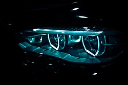Russia , Moscow , MMAC exhibition , bmw x5 2016 front left headlight processed