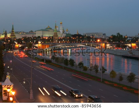 Russia, Moscow, night view of the Moscow River, Bridge and the Kremlin