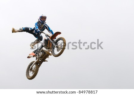 "RUSSIA, MOSCOW-SEPTEMBER 10:  Unidentified sportsman at the Stage III Cup XSR-MOTO.RU Cross Country in Moscow, Russia, Sheremetyevo, route ""Burtseva"" on September 10, 2011"