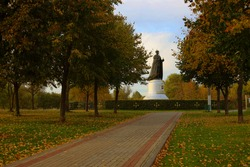 Russia, Mytishchi, park, autumn, monument to the Russian Tsar Nicholas II