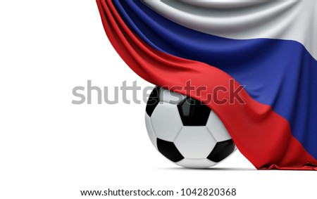 Russia national flag draped over a soccer football ball. 3D Rendering