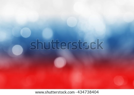 RUSSIA : National flag. Soft blurred bokeh natural background. Abstract gradient desktop wallpaper. #434738404