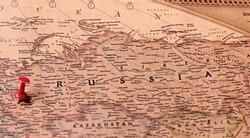 Russia on vintage map