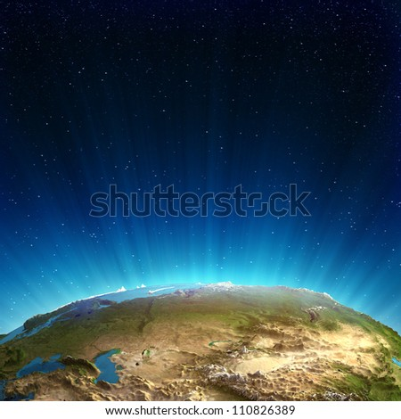 Russia real relief. Elements of this image furnished by NASA