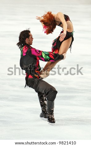 Russia's ice dancers Jana Khokhlova and Sergei Novitski perform the original dance during the ISU Grand Prix in Bercy, Paris, France. This is pairs original (Gypsy) dance for season 2007/2008.