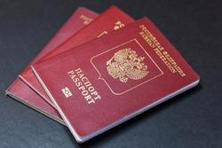 Russia. Saint-Petersburg. Travel documents. Russian foreign passport. Translation: Russian Federation passport.