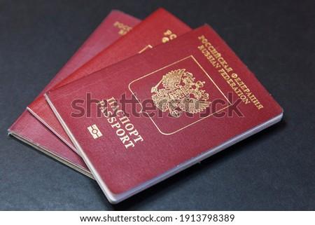 Russia. Saint-Petersburg. Travel documents. Russian foreign passport. Translation: Russian Federation passport. Stok fotoğraf ©