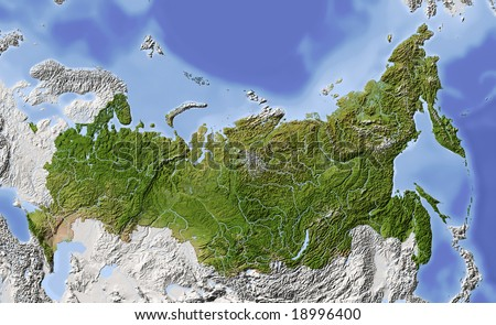 Russia. Shaded relief map of Russian Federation, with rivers, major urban areas. Surrounding territory greyed out. Colored according to vegetation.  Data source: NASA