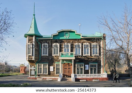 Russia, Siberia. An ancient wooden building of construction of 19 centuries