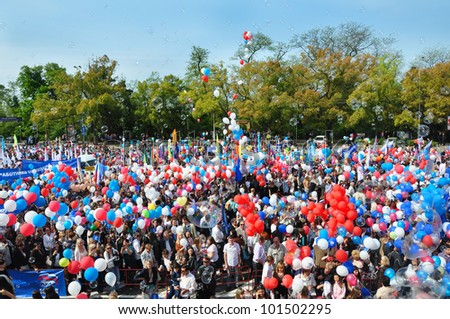 RUSSIA, SOCHI - MAY 1: May Day demonstration on the Theatre square. Thousands peoples celebrate Labor Day, May 1, 2012 in Sochi, Russia.