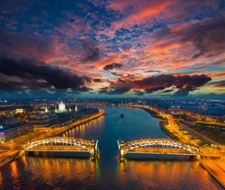 Russia. St. Petersburg from the air. View of the Neva River and Bolsheokhtinsky Bridge. The Bridge of Peter the Great. Okhta in the city of Petersburg.