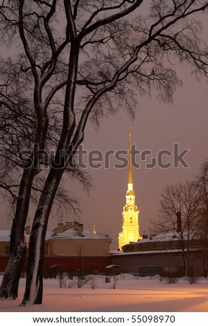 Russia, St. Petersburg. Peter and Paul Fortress in night