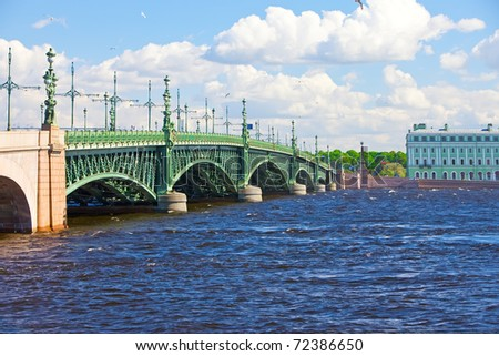 Russia.  Troitskyi Bridge over the river Neva in St. petersburg.