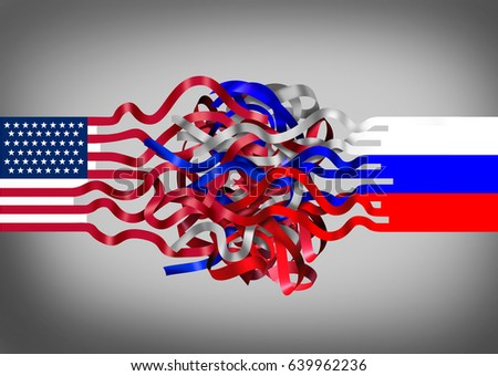 Russia United States crisis as an American flag entangled with a russian symbol as a political and diplomatic challenge concept as a 3D illustration. - Shutterstock ID 639962236