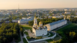 Russia, Vladimir. Dormition Cathedral in Vladimir (Assumption Cathedral) Cathedral of the Vladimir Metropolitanate of the Russian Orthodox Church, Aerial View