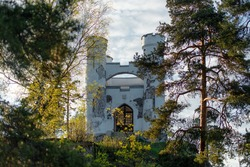Russia Vyborg, Ludwigstein Chapel in Mon Repos park. Little white castle on the hill.