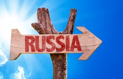 Russia wooden sign with sky background