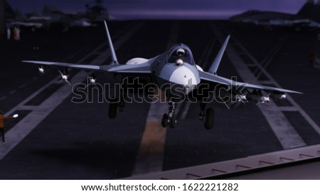 Russian advanced militar jet fighter take off from russian aircraft carrier ship 3d rendering stock photo