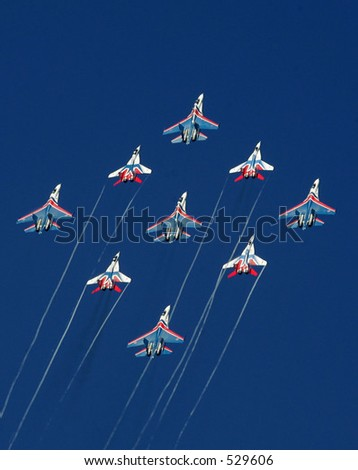 "Russian aerobatic team ""Strizhy""  - stock photo"