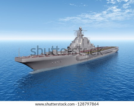 Russian Aircraft Carrier Computer generated 3D illustration - stock photo