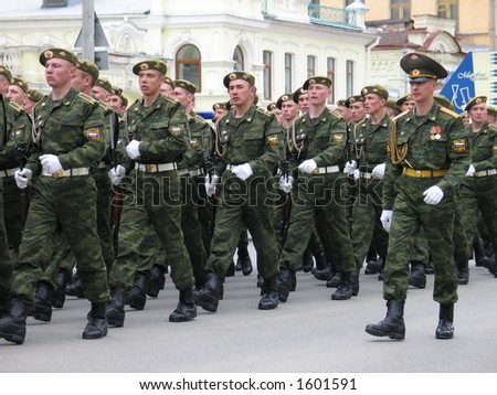 Russian army soldiers on the victory day parade stock photo