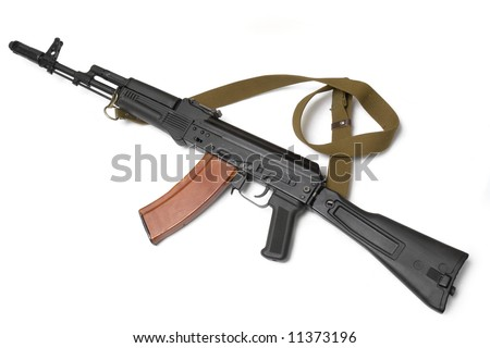 Russian assault rifle AK-74 (Kalashnikov). 5,45 mm. First saw service with Soviet forces engaged in the Afghanistan conflict. Most popular gun in the world. (from rebels to official army soldiers).