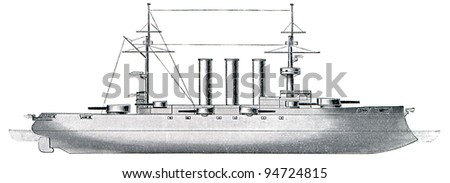 "Russian battleship Imperator Pavel I, 1906, 17,400 tons, 130 meters. Publication of the book ""Meyers Konversations-Lexikon"", Volume 7, Leipzig, Germany, 1910"