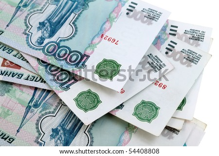 Russian big money. Bundle of bank notes roubles