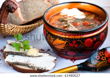 Russian borscht (soup with cabbage and red beet)