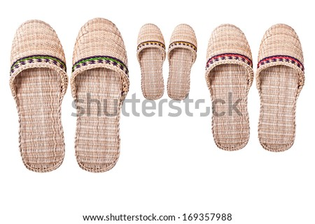 Russian braided sneaker shoes for a family of three on a white background.