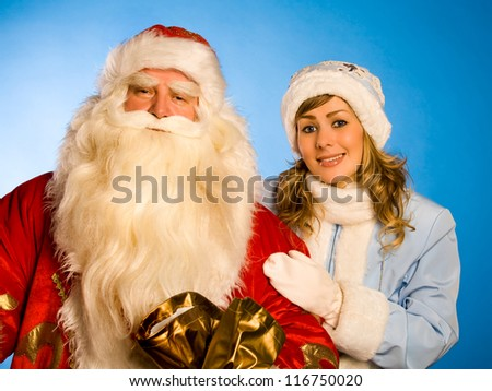 Russian Christmas characters Ded Moroz (Father Frost) and  Snegurochka (Snow Maiden).