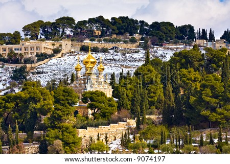 Russian church with with rare snow (Jerusalem, Mt. Olives)