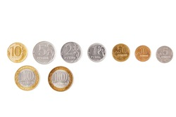 Russian coins money rubles and kopecks in white background. Russian metal coins: 10, 5, 2, 1 rubles, 50 10 5 kopecks,  macro closeup. Money concept