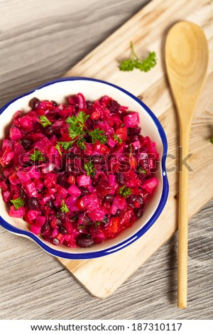 Russian cuisine. Beetroot salad. Traditional Russian vegetable salad.