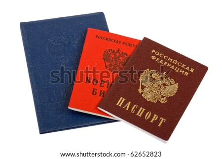 Russian documents. Passport, diploma and military ID on white  background