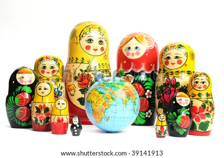 russian doll on the white around the world