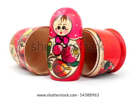 Russian Dolls. Isolated on a white background - stock photo