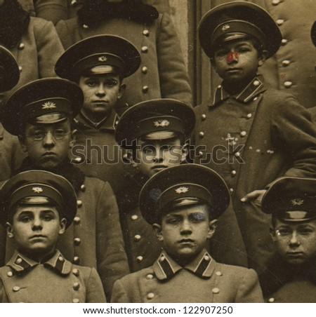 RUSSIAN EMPIRE - CIRCA 1880: Vintage photo of a group schoolboys Odessa gymnasium, circa 1880.