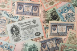 Russian empire old vintage rubles from czar Nicholas 2. Rubles with different signatures.Collectable items.