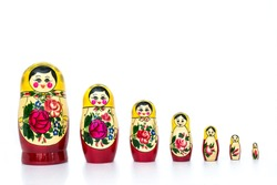 russian family set doll isolated on white background