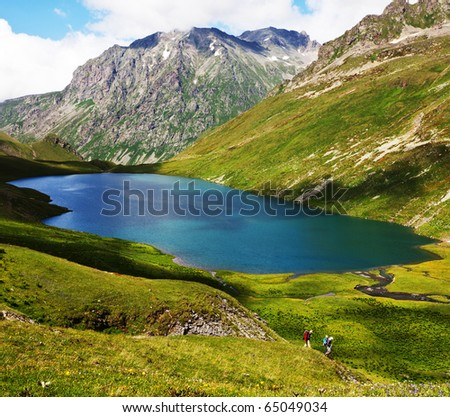 Russian Federation, Caucasus mountains, Arkhyz region, Kyafar lake - stock photo